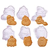 Crethink - Set di 6 stampi per biscotti a forma di animali, Tagliabiscotti,in plastica 3D, motivo zucca, cappello da strega, scopa, strega volante, per feste di Halloween, decorazione