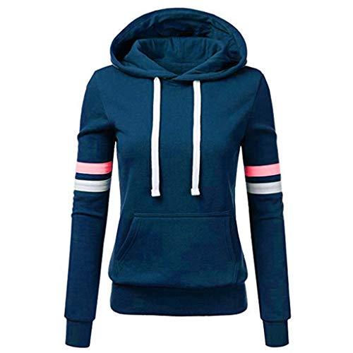 Sweatshirt mit Kapuze Frauen Streifen Langarm Bluse Tasche Pullover Tops Shirt (XXL,4- Blau)