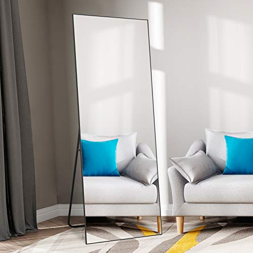 """self Full Length Floor Mirror 65""""×22"""" Metal Aluminum Alloy Frame Floor Mirror with Standing Holder Standing Hanging or Leaning Against Wall Mirror(Black)"""