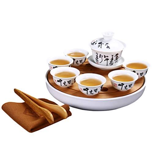 CUPWENH Ensemble De Thé De Voyage Portable Tasses À Thé Chinois Kung Fu [1 Soupière + 6 Tasses] avec Plateau De Thé en Bambou Table De Cérémonie en Céramique