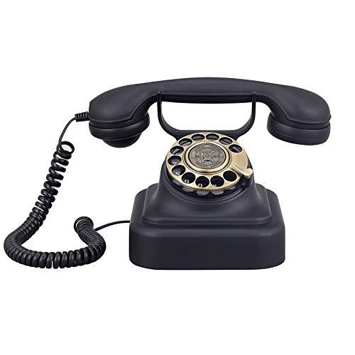 MEETGG Teléfonos Retro con Cable Línea Fija Teléfono Vintage Clásico Dial Rotary Teléfono Inicio Moda Moda Teléfonos Negocios Inicio Oficina Decoración Línea Línea