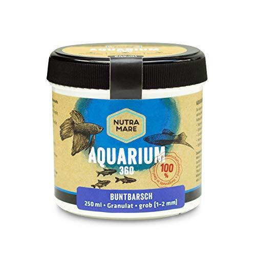 Nutramare Aquarium360 Buntbarsch 250ml | Hochwertiges Fischfutter für Barsche, Granulat mit Spirulina