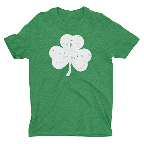 NYC FACTORY Shamrock Men's Tee, Distressed, Heather Green, (XL)