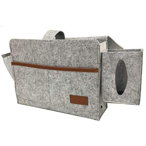 XIXIAO Nachttisch-Caddy-Tasche aus Filz, Aufbewahrungstasche zum Aufhängen, für Handy, Tablets, Zeitschriften, Brillen, Snack-Tasche