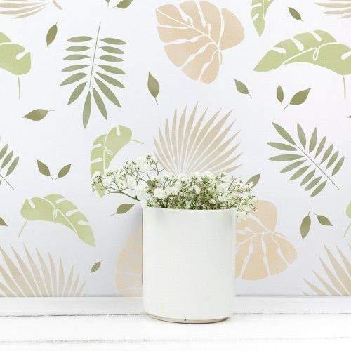 TODO-STENCIL Stencil Home Decor Floral 006 Hojas Tropicales Medidas exteriores: 50x50 Medidas internas diseño 48 x 48cm
