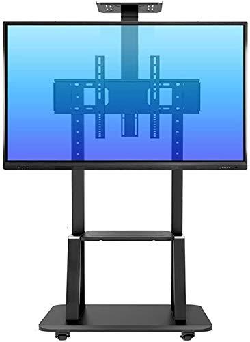 LIUCHUNYANSH TV Soporte de Suelo Rodadura de TV Soporte con 2 Estanterías, Alto Heavy Duty Giratorio Universal for TV de 55 Pulgadas Para-75 Pulgadas de Plasma/LCD/LED TV, Negro, 105 kg de Carga