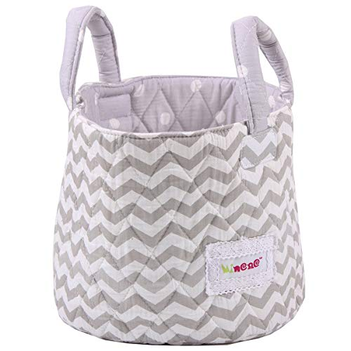 Minene Small Storage Chevrons Basket with Stars (Grey/White)