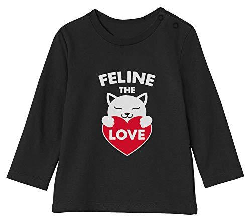 Chat Feline The Love Humour Cute T-Shirt Bébé Unisex Manches Longues 12-18M 76/89cm Noir