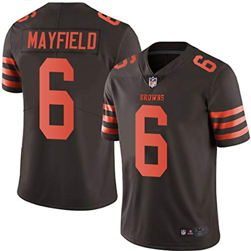 Men's Cleveland Browns #6 Baker Mayfield Brown Embroidered Name & Number Jersey XXL