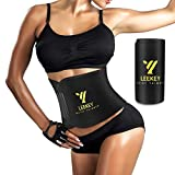 LEEKEY Waist Trimmer Belt for Women Men,Workout Waist Trainer (Middle Size Without Bands) Black