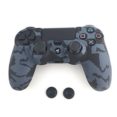 Jiamins 3 en 1 - Funda de Silicona para Gamuza Antideslizante + 2 Tapones para Mando de PS4 Pro Slim Negro Negro passend für PS4 / PS4 Slim / PS4 Pro Controller
