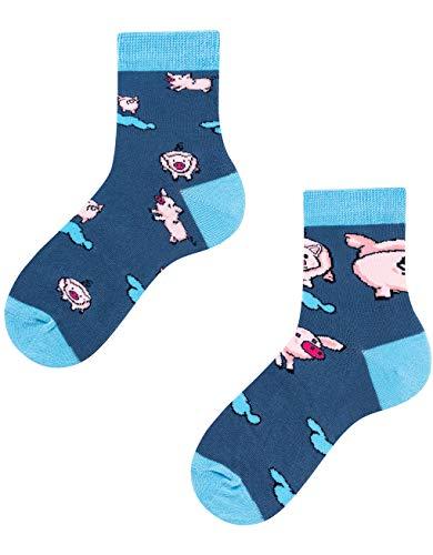 TODO Colours Schweinchen socken Kinder - Little Piggy Kids - motiv, bunte, lustige tier-socken für Mädchen und Jungen (Little Piggy Kids, 31-34)