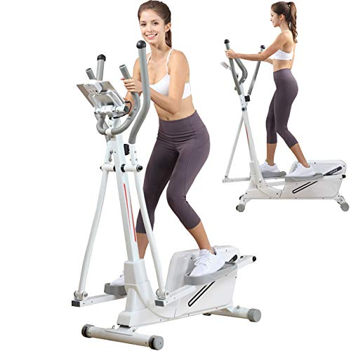 ATGTAOS Home Ellipsentrainer Magnetic Exercise Bike Cross Trainer mit 8 Level Widerstand, Ideal für Home Office Gym Cardio Exercise, Weiß