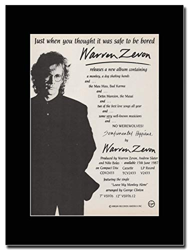gasolinerainbows - Warren Zevon - Sentimental Hygiene - Magazin Promo-Artwork auf Einer schwarzen Halterung - Matted Mounted Magazine Promotional Artwork on a Black Mount