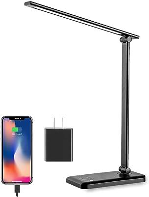 XCUGK Lampe de Bureau LED Lampe de Table Pliable Commande Tactile Dimmable 5 Modes de Couleur avec USB Port pour Charger Smartphone 30/60min Fonction Minuterie