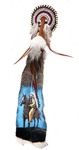 Hejoka-Shop NEU Indianer Haarfeder Feder Clip Haarschmuck Federschmuck Truthahnfeder 35 cm.selten handbemalt Reiter