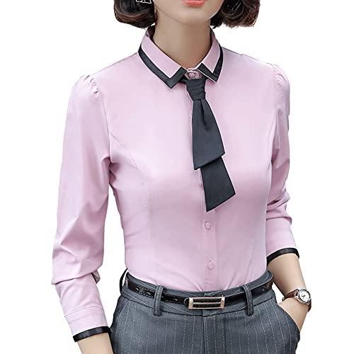 GYZCZX Camisa de Mujer Otoño Formal Elegante Patchwork Lazo de Manga Larga Slim Blusa Oficina Oficina Trabajo Trabajo Use (Color : Pink, Size : XXXXL Code)