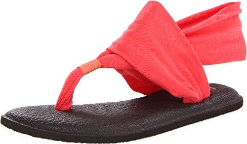 Sanuk Damen Yoga Sling 2 Solid Vintage Flip-Flop Sandale, Korallenrot, 39 EU