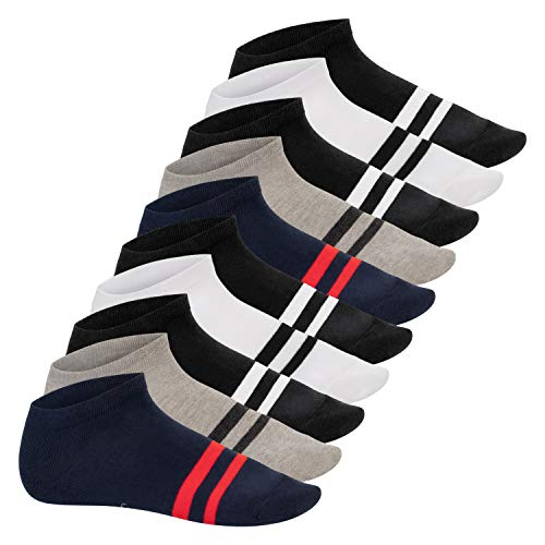 Footstar Damen und Herren Sneaker Socken mit Blockringeln (10 Paar), Kurze Sportsocken - Sneak It! - Street 35-38