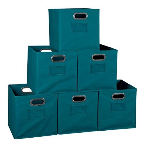 Niche Set of 6 Cubo Foldable Fabric Bins- Teal
