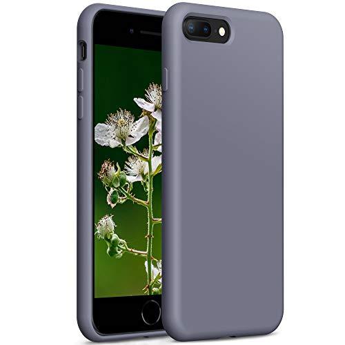YATWIN Compatibile con Cover iPhone 8 Plus 5,5'', Compatibile con Cover iPhone 7 Plus Silicone Liquido, Protezione Completa del Corpo con Fodera in Microfibra, Grigio Lavanda