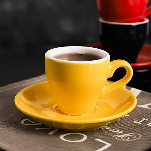 RSDYXJH Einfache Espressotasse Set Farbe Keramik 100Ml Gelb 6,2 * 5,5 cm