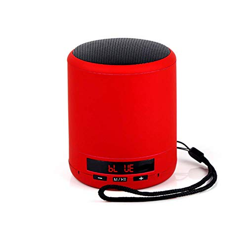 LHFLU-SP Mini Altavoz Bluetooth portátil Columna inalámbrica Bajo Sonido Estéreo Subwoofer Radio FM Manos Libres Tarjeta TF USB Reproductor de MP3 para teléfono,Rojo
