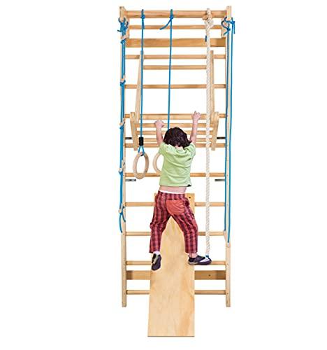 COSTWAY Sprossenwand Holz Kletterwand, Turnwand Klettergerüst inkl. Montagezubeöre, Gymnastikgerät Heimsportgerät für Kinder und Erwachsener, 220x80x60cm