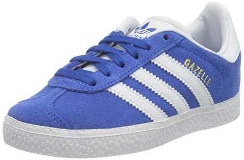 adidas Gazelle C, Scarpe da Ginnastica Unisex-Bambini, Blue/Ftwr White/Gold Met, 32 EU