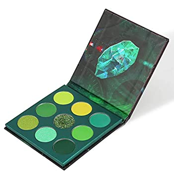 Docolor Eyeshadow Palette 9 Colors Gemstone Shadow Palette Highly Pigmented Mattes Shimmers Naked Smokey Glitter Cream Colorful Powder Blendable Long Lasting Waterproof Makeup Palette-Green