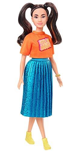 Barbie GHW59 - Barbie Fashionistas Puppe 145 (brünett) mit blau-schimmerndem Rock