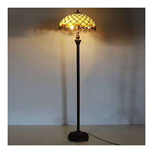 Lámpara de pie estilo de estilo Tiffany de 16 pulgadas, lámpara de cristal manchada de gypsophila retro, luz del piso para la sala de estar de la sala de estar de la sala de estar.