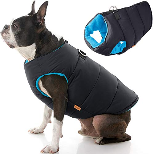 Gooby Padded Dog Vest - Solid Black, X-Small - Zip...