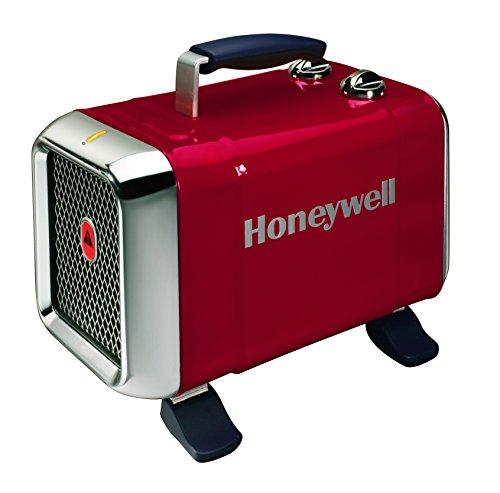 Honeywell HZ-510E Keramik-Heizlüfter in rot/Chrom, 1100/1800 Watt breiter Standfuß