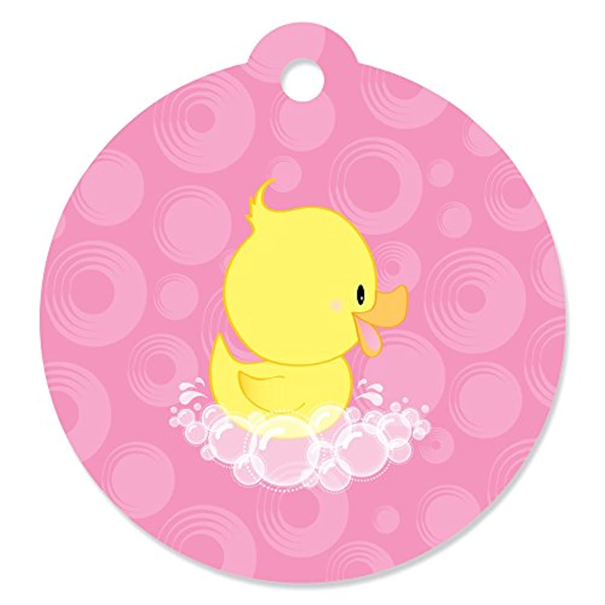 Pink Ducky Duck - Girl Baby Shower or Birthday Party Favor Gift Tags (Set of 20)