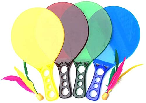 HLD Paddle Ball Strand Set Jazzminton Strand for Familie und Freunde □ 2 Paddles, 3 BirdiesBall and Carry Bag Indoor/Outdoor-Spiel for Kinder, Jugendliche und Erwachsene (Color : Yellow)