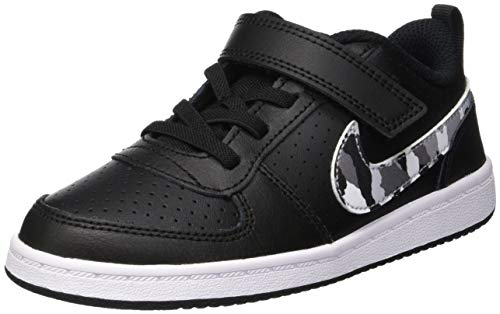 Nike Unisex-Kinder Court Borough Low (TDV) Basketballschuhe, Mehrfarbig (Black/Multi-Color-Pure Platinum-White 005), 25 EU