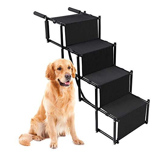 Opfury Klappbare Hunderampe, 4-stufige Leichte Faltbar Auto Hundetreppe, Faltbarer hunderampe für Auto Kofferraum, Hunde treppen Für Hochbetten, LKWs, SUVs