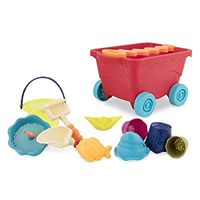 B. toys ? Wavy-Wagon ? Travel Beach Buggy (Red) with 11 Funky Sand Toys ? Phthalates and BPA Free ? 18 m+