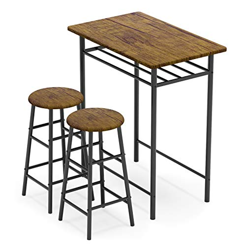 WeeHom 3 Pieces Bar Table Set, Modern Pub Table and Chairs Dining Set, Kitchen Counter Height Dining...