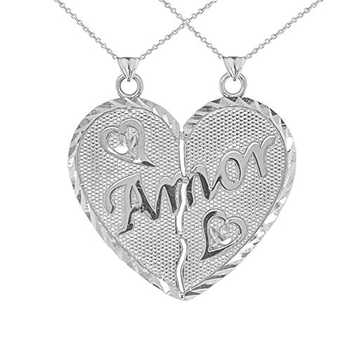 Amor Breakable Heart Pendant Necklace Nunca Separados, Siempre Juntos in Sterling Silver 925 (Available Chain Length 16'- 18'- 20'- 22') C