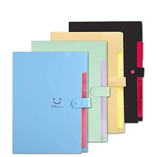 GXR Carpetas de Acordeón, 4PCS Organizador Expandible Carpeta de Documentos, 5 Bolsillos A4 Carpetas de Archivos con 5 Bolsillos para Escolares/Oficina/Casa