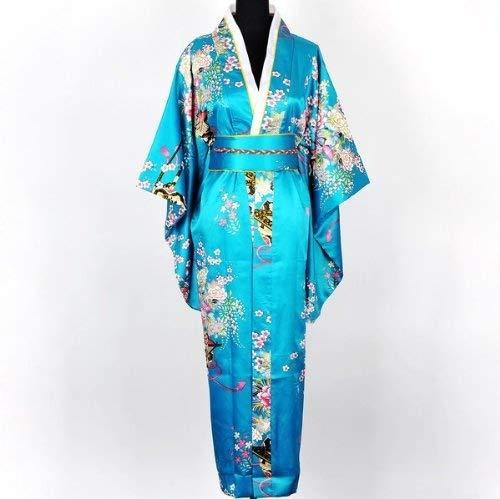 Shanghai Tone® Japanisch Kimono Robe Yukata Schlafanzug Türkis Einheitsgröße