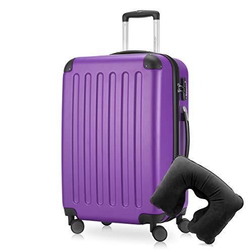 Hauptstadtkoffer - Spree Hartschalen-Koffer Koffer Trolley Rollkoffer Reisekoffer Erweiterbar, 4 Rollen, TSA, 65 cm, 74 Liter, Aubergine inkl. Reise Nackenkissen