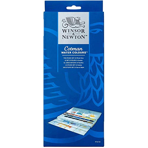 Winsor & Newton Cotman Water Colour Paint Studio Set, Set of 24, Whole Pans