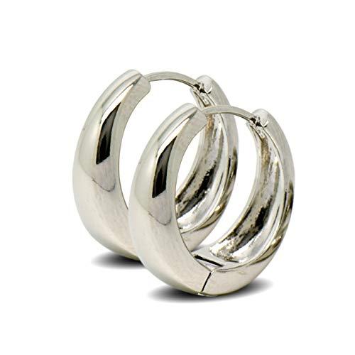 Blue Diamond Club - Tapered Hoop Earrings Womens 9ct White Gold Filled Hoop Earrings 19mm