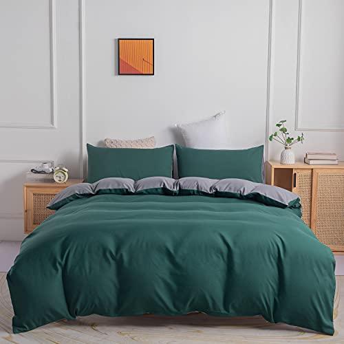 Boqingzhu Ropa de cama de 135 x 200 cm, verde, gris, verde oscuro, gris antracita, juego de ropa de cama reversible de microfibra y funda de almohada de 80 x 80 cm con cremallera
