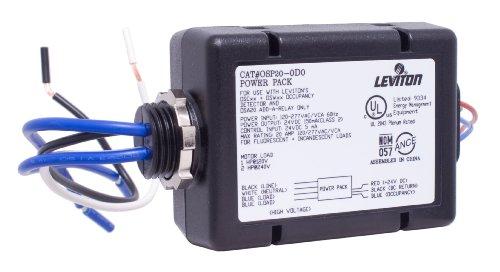 Leviton OSP20-D0 Power Pack for Occupancy Sensor, 20 Amp FL/INC, 120-277VAC 60Hz, 1HP at 120VAC, 2HP at 240VAC, Black