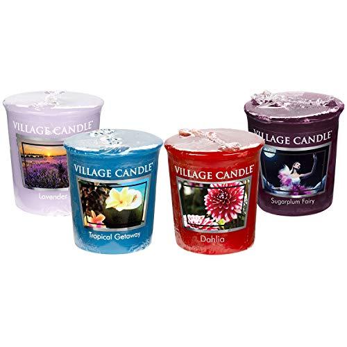 Village Candle Votives - Pack of Four - Lavender - Tropical Getaway - Dahlia - Sugar Plum Fairy