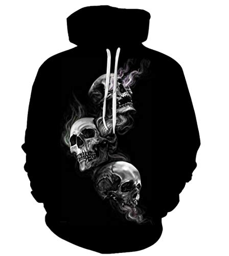 Hoodies,Three Skulls,Men,Sweatshirt,Drawstring,Pullover,Fashion,3D Print,Novelty,Sweater,Unisex